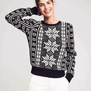 Faherty Blanche Sweater Black Snowflake NWT